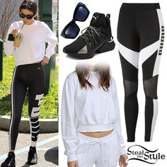 Find out where your favorite celebrities buy their clothes and how you can get their looks for less. Selena Gomez Shoes, Selena Gomez Style, Celebrity Outfits, Celebrity Style, Celebrity Piercings, Sport Outfits, Summer Outfits, Puma Outfit, Outfits