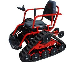 The Cherry Red Action Trakchair. Great off road mobility for users. Vex Robotics, Duchenne Muscular Dystrophy, Snow Vehicles, Survival Gadgets, Muscular Dystrophies, Bug Out Vehicle, Metal Projects, Go Kart, Offroad