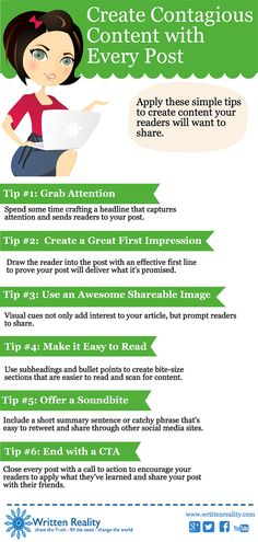 Blogging Tips How to Create Contagious Content With Every Post #Infographic