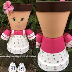 Boy Self Portrait Girl Self Portrait Clay Flower Pots