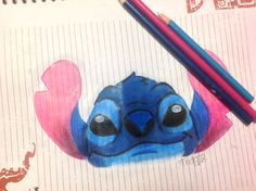 Dibujo de Stitch en lapices de colores - colores de madera // Stitch drawing in pencil colors  Dibujos de Disney // Disney drawings