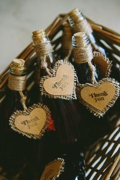 Absolutely gorgeous wedding welcome gifts: miniature bottles filled with vinsanto, Santorini's traditional sweet wine. See more http://www.love4wed.com/shabby-chic-summer-wedding/