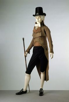 Double-breasted morning coat and waistcoat, 1790s. Museum no. 940-1902 & T.1082-1913