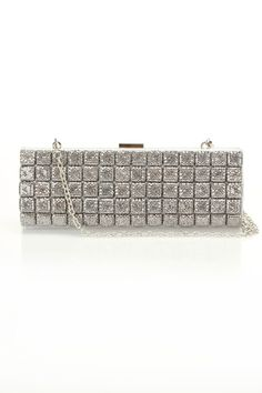 Silver Dagger Silver Clutch With Crystal Squares In Silver