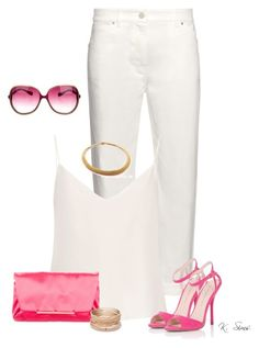 """""""White.....and Pink"""" by ksims-1 ❤ liked on Polyvore featuring Balenciaga, Raey, Lanvin, Lipsy, Tiffany & Co., Red Camel and Oliver Peoples"""