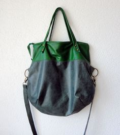 """Two tone green hobo    The measurement approximately:  12.5""""(32cm) across the top,  15""""(38cm) tall, and 11""""(28cm) if you use it as a folded top messenger bag.  The widest part of the bag is 17""""(42.5cm)."""
