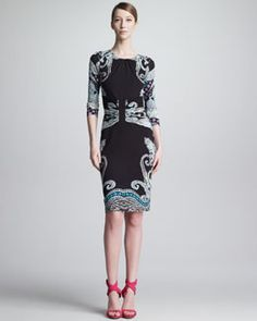 Etro Gathered Round-Neck Paisley Dress, Black