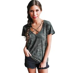 Special Offer: $3.11 amazon.com Initial Women's Sexy Criss Cross Short Sleeve Ripped T Shirt Distressed Tops for teen girlsCrisscross front ripped tshirt new fashion distressed summer topsThe fabric is airy, very soft and pleasant to the touch weights 210gStyle:Sexy, casual, brief,...