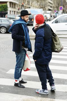 Extreme menswear, Blue Blue Japan socks on show, Junya Watanabe x Duvetica duffle puff jacket, the New Balance 998's. I think these guys work in Fashion.