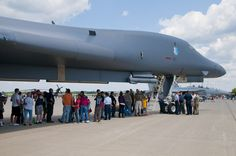 Volk Field Open House visitors wait patiently for an opportunity to tour the cockpit of a B-1 Lancer bomber [1800  1196]