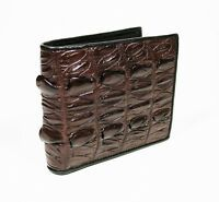 New Brown Alligator Crocodile Genuine Leather Back Skin Slim Men Bi-fold Wallet.