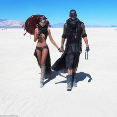 Matching: This couple appeared to have coordinated their costumes so they were in theme with each other in black