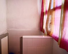 William Eggleston, Untitled (Bathroom with Pink Curtain)