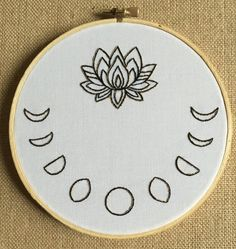 Golden Lotus with 9 Moon Phases 6 inch embroidery by berryandblue