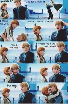 "Cutest part of the movie I love his face when anna kisses him :) Every time i see this im like.....Olaf straight after he says ""my own personal flury"""
