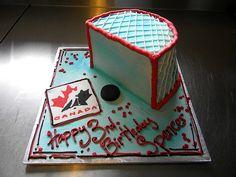 different style hockey cake Hockey Birthday Cake, Hockey Party, Birthday Cakes, Hockey Cakes, Sport Cakes, Birthday Parties, Birthday Ideas, 5th Birthday
