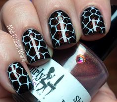 Duo-chrome giraffe stamping, BM313: nail polish wars