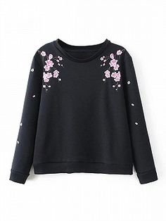 Black Floral Embroidered Sweatshirt