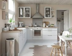 simple white and timber kitchen - maybe add an island or large table