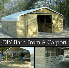 My new goat barn? How to Make a Barn Out of a Carport by Mulligan's Run Farm Horse Shelter, Horse Stables, Horse Tack, Goat Shelter, Horse Paddock, Dream Stables, Goat Barn, Farm Barn, Trailer Casa