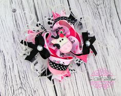 Hair Bow  Black white and pink moo cow Themed by SoChicBoutiques, $15.99