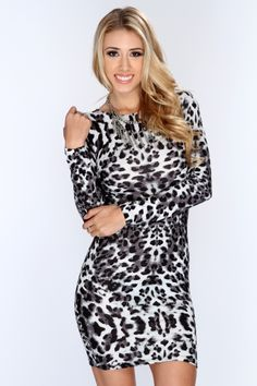 This elegant dress is one to catch attention anywhere you go! Its perfect for a night out with your gals or on a nice date. Perfect for any kind of weather.  It will keep you warm at night and nice and cool during the day. This dress features boat neckline, long sleeves, leopard print, and tight fitted to show off your sexy curves. 92% Polyester 8% Spandex Made in U.S.A