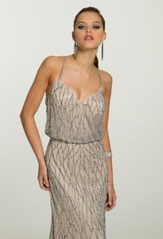 Guest of Wedding Dresses - Georgette Blouson Dress with Swirl Beading from Camille La Vie and Group USA
