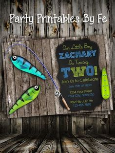Birthday Party Invitation - Blue and Green Fishing Chalkboard 1