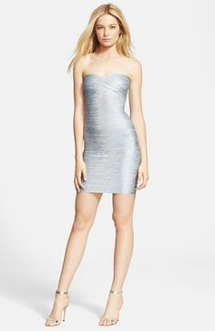 Herve+Leger+Strapless+Foil+Bandage+Dress+available+at+#Nordstrom