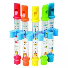 A bath toy of five flutes that play musical notes, by filling with water, for bathtime musical fun.