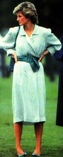 """June 29, 1985: Princess Diana at a """"Birthright"""" charity polo match at the Guard's Polo Club, Windsor."""