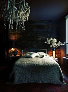 Moody Cool: A Gallery of Dark Bedrooms -- This moody bedroom is from the home of British designer Abigail Ahern.