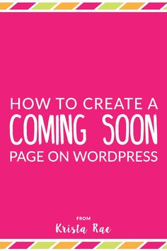 Even before your blog launches you should be collecting email addresses. Here's how to create a Coming Soon page on WordPress for free!