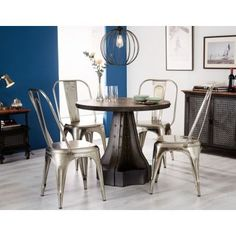 Indian Hub Evoke Iron and Wooden Industrial Round Dining Set with 4 Cosmo Silver. Indian Hub Evoke Iron and Wooden Industrial Round Dining Set with 4 Cosmo Silver Chairs Industrial Round Dining Table, Round Dining Set, Wooden Dining Tables, Dining Room Table, Dining Chairs, Tan Sofa, Industrial Style Furniture, Luxury Furniture, Indian Furniture