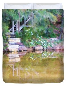 """Steps to the Lake Queen (88"""" x 88"""") Duvet Cover by Kaye Menner"""