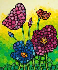 cuadros faciles de pintar flores
