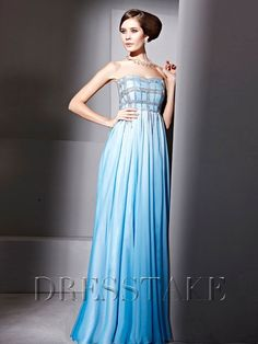 A-line Floor-length Backless Strapless Beading Blue Chiffon Prom Dresses, US$126.99