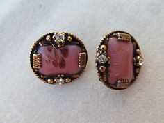 Lot of 2 Vintage Antique Art Glass Buttons in Metal Frames with Rhinestones | eBay