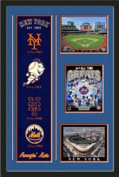 New York Mets Banner With Logos-Citi Field 2013 photo, New York Mets All Time Greats Composite photo, Citi field Photo Framed With Team Color Double Matting In Quality Black Frame-Awesome & Beautiful