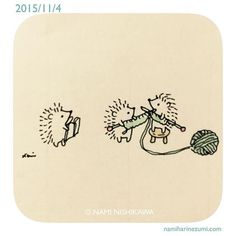 660 編み物  knitting  #illustration #hedgehog #イラスト #ハリネズミ Family project. lol