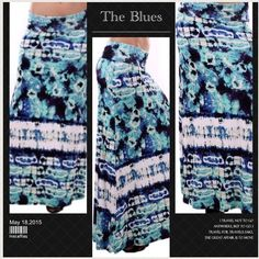 VERY HIP TIE DYE MAXI SKIRT Love these shades of blue! Very soft maxi in fun tie dye pattern. 95% rayon/5% spandex. Made in USANWOT Photo number two shows the Aqua colors better. tla2 Skirts Maxi