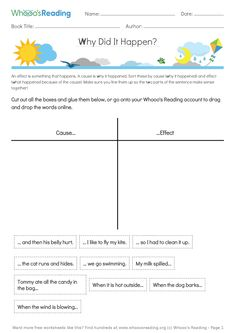 Grades: Students will match generic causes and effects, and then think of one cause and one effect from their own text. Literacy Worksheets, Reading Worksheets, Learning Tools, Kids Learning, Cause And Effect, Book Title, Make Sense, Sentences, Teaching Ideas