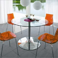 Modern Round Glass Kitchen Table and Chairs