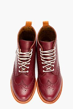 DR. MARTENS // BURGUNDY LEATHER BROGUE BOOTS