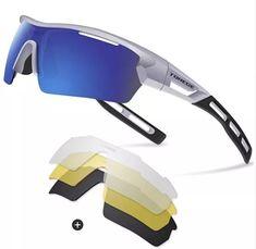 44d23c4279 Gafas Torege Sports Polarizados Protección Solar UV400 Cuatro Lentes  Deportivos Intercambiables Ciclismo Atletismo Golf Hiking Montaña