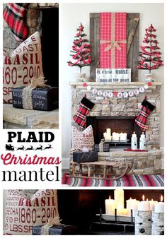Christmas Mantel Ideas from my blogging friends and me! It's all about plaid this Christmas, reds, greens and of course chalkboard wrapping paper. Vintage sleigh filled with gifts.