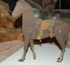 OLD CIVIL WAR WOODEN TOY HORSE OLD DOWL PINS CONNECTED MOVABLE PARTS VERY OLD CONDITION AWESOME ART