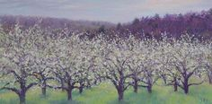 "Early Morning Orchard, Gettysburg by Simonne Roy Oil ~ 8"" x 16"""