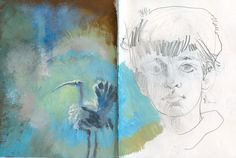 A calming color palette - love the mixed media effect of the painting against the drawing in this sketchbook.
