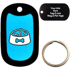 Custom Engraved Pet Tag - Dog Food Bowl with Bone - Cyan Blue - Dog Tag - Tag-Z Wag-Z @@@ You can click on the image for additional details. (This is an affiliate link and I receive a commission for the sales)